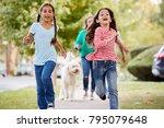 Stock photo grandmother and granddaughters walking dog along suburban street 795079648