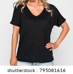 woman in a black v neck tee... | Shutterstock . vector #795081616
