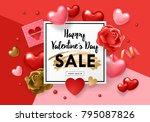 valentines day sale banner... | Shutterstock .eps vector #795087826