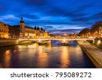 paris city center by night with ... | Shutterstock . vector #795089272