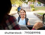 mother in car collecting... | Shutterstock . vector #795089998