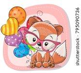 greeting card cute cartoon fox...   Shutterstock .eps vector #795090736
