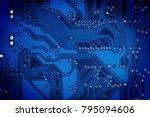 abstract blue circuit digital... | Shutterstock . vector #795094606