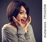 surprising very excite woman... | Shutterstock . vector #795102508