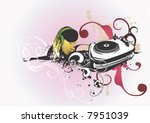 a woman listening music and a... | Shutterstock .eps vector #7951039