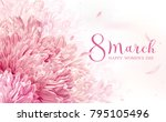 8 march flower vector greeting... | Shutterstock .eps vector #795105496