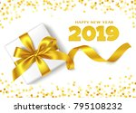 happy new year 2019. decorative ... | Shutterstock .eps vector #795108232