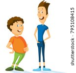 fat and slim sport man cartoon... | Shutterstock .eps vector #795108415