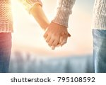 couple on valentines day. woman ... | Shutterstock . vector #795108592