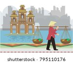 vietnam traditional and... | Shutterstock .eps vector #795110176