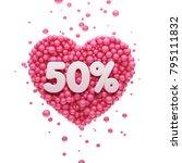 50  or fifty percent pink heart ... | Shutterstock . vector #795111832