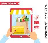 online shopping  e commerce... | Shutterstock .eps vector #795112126