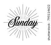sunday lettering vintage design ... | Shutterstock .eps vector #795114622