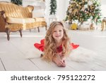cute little girl in red dress... | Shutterstock . vector #795122272