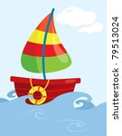 cartoon fishing boat on open... | Shutterstock .eps vector #79513024