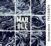 marble texture set. indigo blue ... | Shutterstock .eps vector #795130876