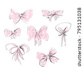 bows isolated. hand drawn... | Shutterstock . vector #795131038