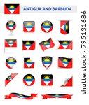 antigua and barbuda flag set  ... | Shutterstock .eps vector #795131686