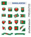 bangladesh flag set   vector... | Shutterstock .eps vector #795131722