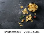 bowl of home made potato chips... | Shutterstock . vector #795135688