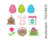 easter icon set. pixel art. old ... | Shutterstock .eps vector #795146872