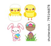 easter icon set. pixel art. old ... | Shutterstock .eps vector #795146878