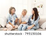 happy female friends chatting... | Shutterstock . vector #795150106