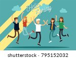 vector illustration of happy... | Shutterstock .eps vector #795152032