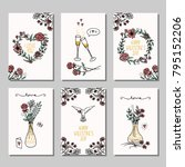 set of six hand drawn mini... | Shutterstock .eps vector #795152206