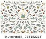 hand sketched floral design... | Shutterstock .eps vector #795152215