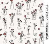 seamless flower bouquet pattern ... | Shutterstock .eps vector #795152218