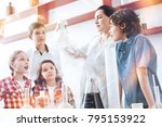 can you see the reaction....   Shutterstock . vector #795153922