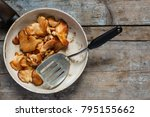 roasted oyster mushrooms  pink... | Shutterstock . vector #795155662