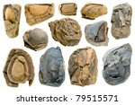 old stones set isolated on... | Shutterstock . vector #79515571