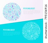 psychologist concept in circle... | Shutterstock .eps vector #795156916
