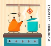 stove in kitchen. oven with... | Shutterstock .eps vector #795164575