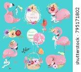 cute flamingo pink baby...   Shutterstock .eps vector #795171802