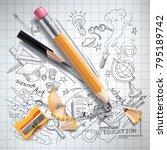 vector realistic pencils ... | Shutterstock .eps vector #795189742