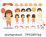 girl kid playing games and toys ... | Shutterstock .eps vector #795189766