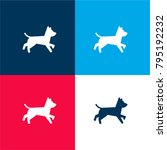 Stock vector dog running four color material and minimal icon logo set in red and blue 795192232