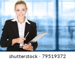 business woman in modern glass... | Shutterstock . vector #79519372