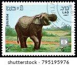 laos   circa 1987  a stamp...   Shutterstock . vector #795195976
