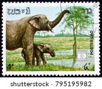 laos   circa 1987  a stamp...   Shutterstock . vector #795195982
