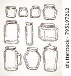 vector hand drawn vintage jars... | Shutterstock .eps vector #795197212