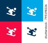 ski stick man four color...