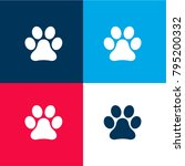 animal paw print four color...