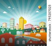 abstract vector city. vector...   Shutterstock .eps vector #795207025