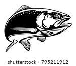 salmon fish.vintage salmon... | Shutterstock . vector #795211912