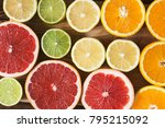 pattern of cut citrus.... | Shutterstock . vector #795215092