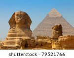 the sphinx and pyramid of khafre | Shutterstock . vector #79521766